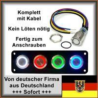 18mm Drucktaster LED gelb Klingelknopf Hupe Edelstahl Wasserdicht IP67 mit Kabel