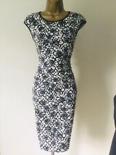 REISS NAVY & WHITE FLORAL LACE SUMMER DRESS UK 8