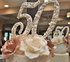 50th anniversary cake topper, wood, crystal, pearl, handmade item