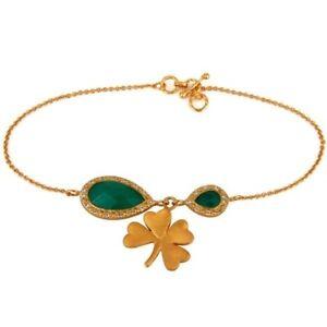 18K Gold Plated 925 Silver Green Onyx White Topaz Flower Bracelet Jewelry