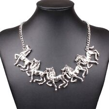 Women Ancient Silver Tone Animal Horse Cluster Pendant Bib Charm Necklace