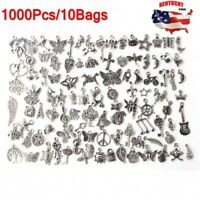 Wholesale 1000pcs Bulk Lots Tibetan Silver Mix Charm Pendants Jewelry DIY US