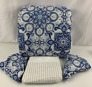 Ralph Lauren Fabric Queen Comforter Set Shams Porcelain Blue Bedskirt Stripe 4Pc