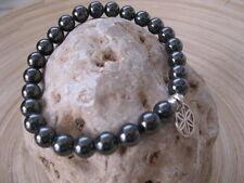 Mens Jewelry Beaded Metallic Hematite Bracelet 925 Silver Seed of Life Charm