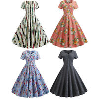Womens Vintage 50s Rockabilly Swing Pinup Skater Evening Party Summer Dress