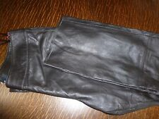 BIANCA  DARK BROWN   REAL  LEATHER  STRAIGHT LEG TROUSERS  SIZE UK 16--