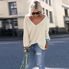 New Women Knitted Sweater V-neck Long Sleeve Cardigan Pullover Jumper Blouse Top