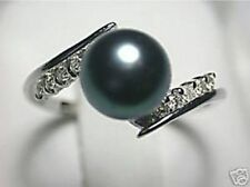REAL NATURAL BLACK AKOYA PEARL RING SIZE -8# -9#AAAA++