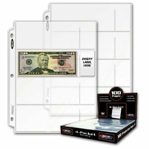 20 4-Pocket Coin Currency Storage Protector Album Binder Collector Sheet Sleeves