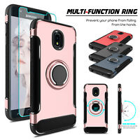 For Samsung Galaxy J7 Crown/SM-J737 Ring Holder Stand Case With Screen Protector