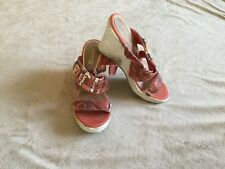 Women's Sherry wedge sandals  size 7.5 orange snake skin look gold accent