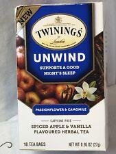 New Twinings Of London Unwind Supports A Good Night Sleep 18 Tea Bags/0.95 Oz BN