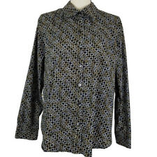 Investments Womens Top Black Size 18 Gold White Print Wrinkle Free Long Sleeve