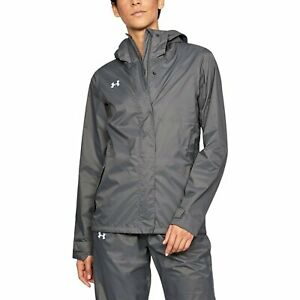 Womens Under Armour Team Ace Rain Jacket Size Small Graphite Grey NEw
