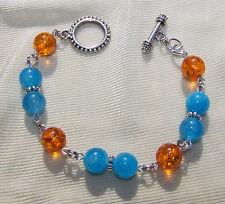 "AGATE & AMBER  LINK BRACELET  8""  turquoise handmade"