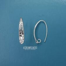2 PC Solid Sterling Silver Long Hammered Ear Wire Hook Earrings Open Loop #33523
