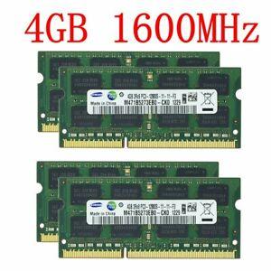 For Samsung 16GB 4x 4GB 1GB PC3-12800S DDR3 1600 204Pin SODIMM Laptop RAM LOT CA