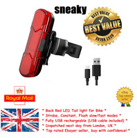 Bike Tail Light ''Sneaky'' Scooter eBike Red Rear Bicycle New UK Safety LED USB