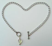 """custom anklet with Ab heart pendant Silver aluminum chain Nickel Free 10"""" or"""