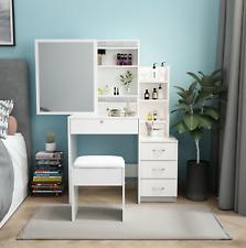 NEW Dressing Table Vanity Set Sliding Mirror Stool Makeup Desk Vanity Set Make@