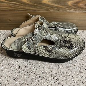 Alegria Womens Mules Shoes Green Leather Snake Skin Buckle Slip On US 5 ALG-723
