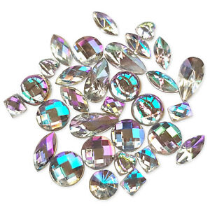 50pcs Clear ICE AB Flatback Acrylic Crystal Rhinestone Embellishments Craft Gems