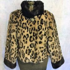 Vtg Olympia Fashions FAUX Leopard Print FUR Plush Cropped Jacket Waist Coat USA