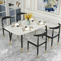 """""""Contemporary Modern White Marble 5Pc  Dining Set-Table & Four Chairs"""""""