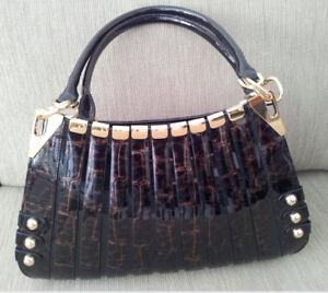 Serenade - Leopard Print and Croc Textured Patent Leather Large Handbag