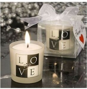 3 - LOVE Votive Candle Holders Frosted Glass wi/ a Stylish Black & White Design