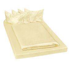 Parure de lit satin 6 pcs housse de couette 200x150 housse taies jaune