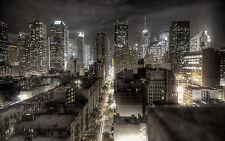 "New York City Pictures 16""X20"" Lit Up Black /White Modern Artwork Canvas Prints"
