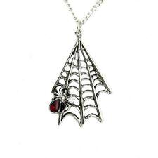 Silver Hanging Spider Web Necklace Pendant Goth Punk Emo Metal Grunge Halloween