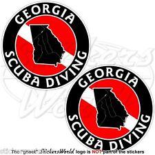 "GEORGIA SCUBA DIVING Flag-Map Shape USA 75mm (3"") Circular Stickers Decals x2"