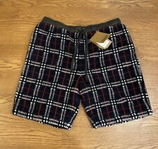 "$490 Mens Authentic Burberry ""Keaton"" Check Pattern Sweat Shorts Navy Blue 2XL"
