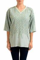Maison Margiela 1 100% Silk Aqua Green Short Sleeve Women's Blouse US M IT 42