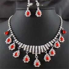 Wedding TearDrop Red Ruby Austrian Crystal Elements Stud Earrings Necklace Sets