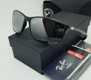 """RAY BAN black/silver mirror POLARIZED """"LITEFORCE"""" RB4179 601S8 62 sunglasses NEW"""