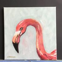 "Small Flamingo Pink Original Painting Acrylic Modern Art 10"" x10"" x 0.8"""