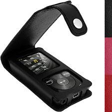 Schwarz Leder Tasche Hülle für Sony Walkman NWZ-E384 Schutzfolie Karabinerhaken