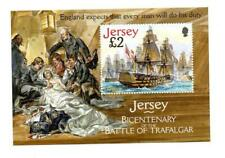 (E545) Jersey 2005 BATTLE OF TRAFALGAR SET & MINI SHEET MNH