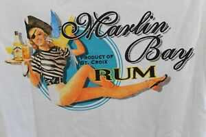 Marlin Bay Rum | T-Shirt | Men's | Double Sided | White | size: XL | NWT (FC1379