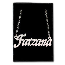 White Gold Plated Name Necklace - FARZANA - Gift Idea For Her - Designer Pendant