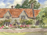 John A. Case - Signed Contemporary Watercolour, Floral Cottage