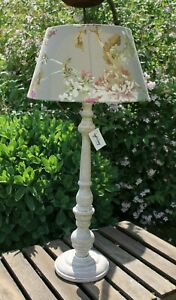 Large Decorative Lamp Desk Lamp Lampshade Taupe Lampfoot Wood 63 CM New