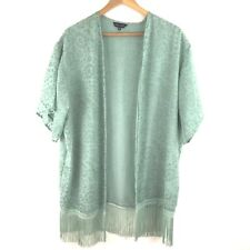 New Look Kimono Jacket Top Sz 12 Mint Green Fringe Velvet Devore Pattern Deco