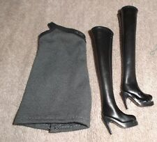 BARBIE DOLL SIZE CLOTHES SHOES - TAYLOR SWIFT DRESS w/ KNEE HIGH BOOTS