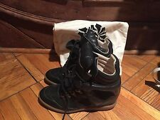 New Isabel Marant Etoile Black Leather Hi Top concealed wedge Sneakers Shoes 40