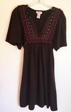 Candies Boho Peasant Dress V-Neck Empire Waist Embellished Brown Sweater Medium