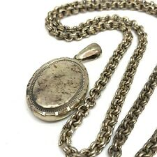 Antique Victorian Silver Plated locket and necklace